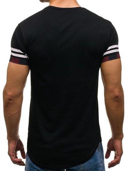 T-shirt męski z nadrukiem czarny Denley 2062