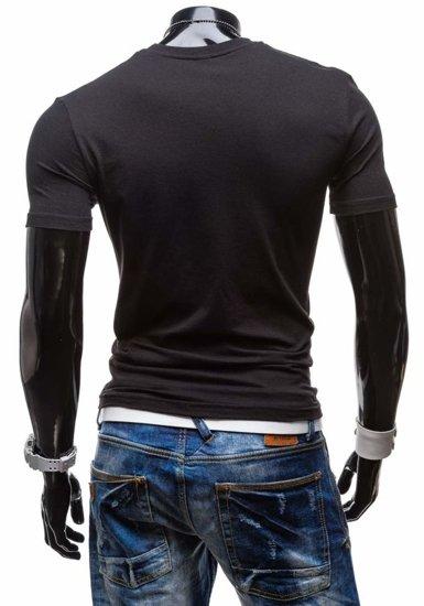 T-shirt męski z nadrukiem czarny Denley 3212