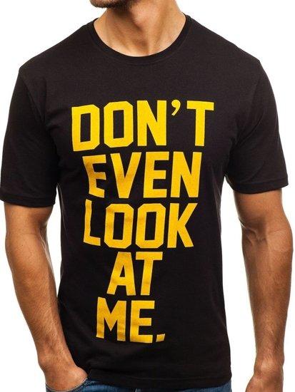 T-shirt męski z nadrukiem czarny Denley 6294
