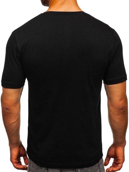 T-shirt męski z nadrukiem czarny Denley 6303