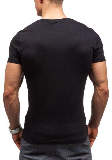 T-shirt męski z nadrukiem czarny Denley 7432
