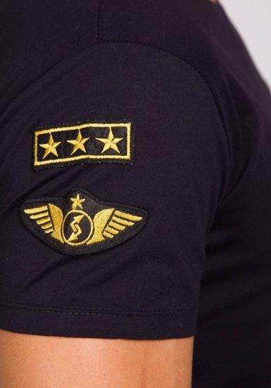 T-shirt męski z nadrukiem czarny Denley 9021