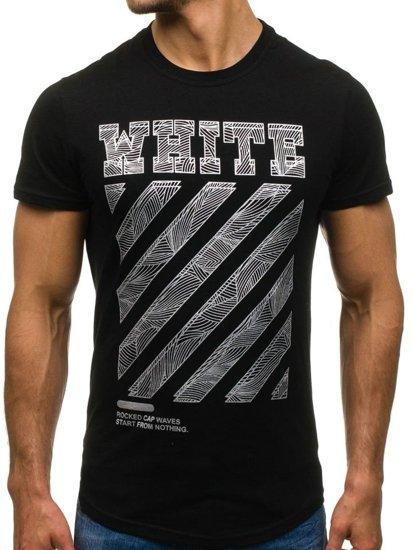 T-shirt męski z nadrukiem czarny Denley s088