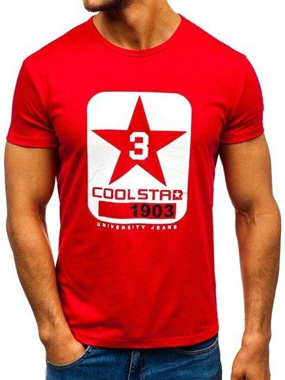 T-shirt męski z nadrukiem czerwony Denley 100729