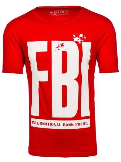 T-shirt męski z nadrukiem czerwony Denley 6295