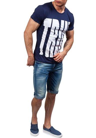 T-shirt męski z nadrukiem granatowy Denley 9018