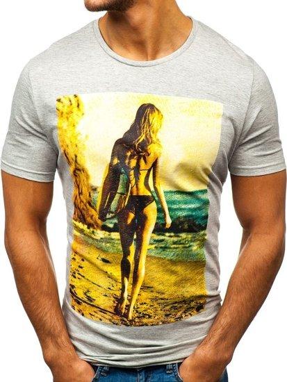 T-shirt męski z nadrukiem jasnoszary Denley 7434