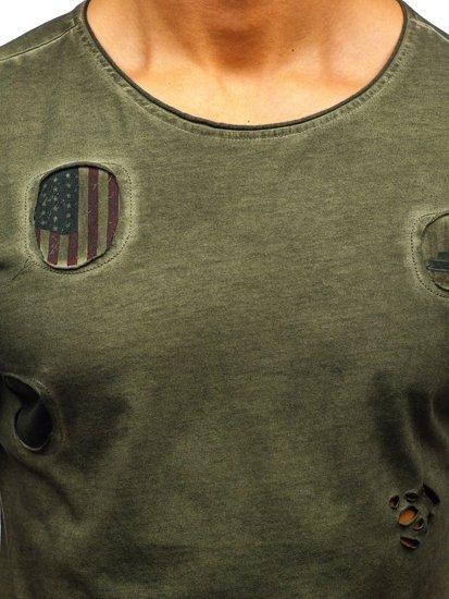 T-shirt męski z nadrukiem khaki Denley 320