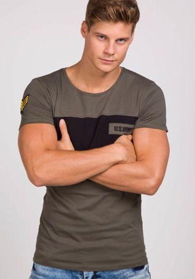 T-shirt męski z nadrukiem khaki Denley 9034