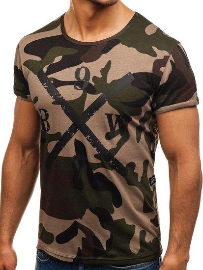 T-shirt męski z nadrukiem moro-zielony Denley 1065