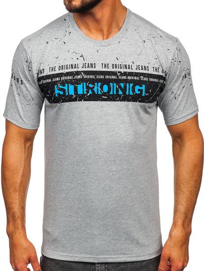 T-shirt męski z nadrukiem szary Denley 14204
