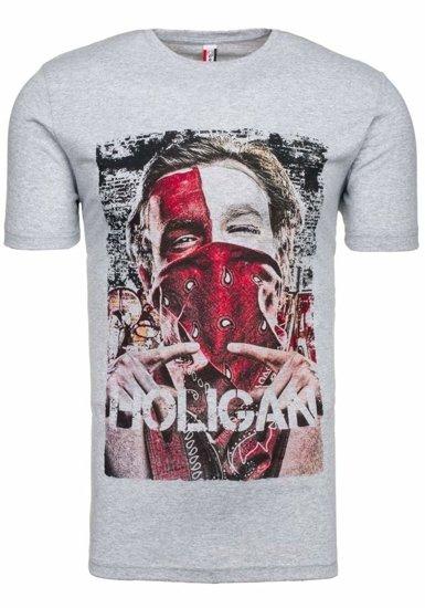 T-shirt męski z nadrukiem szary Denley cmr18