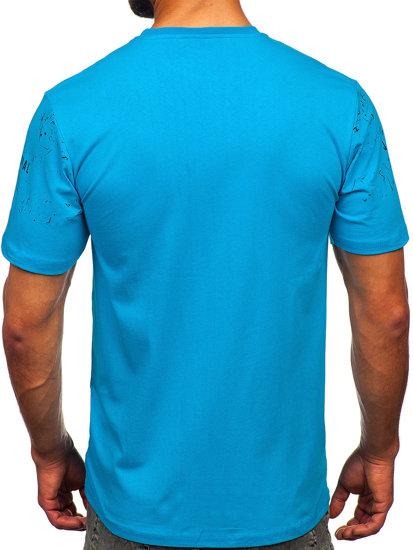 T-shirt męski z nadrukiem turkusowy Denley 14204
