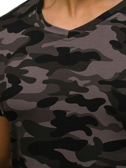 T-shirt męski z nadrukiem w serek moro-grafitowy Denley 4525