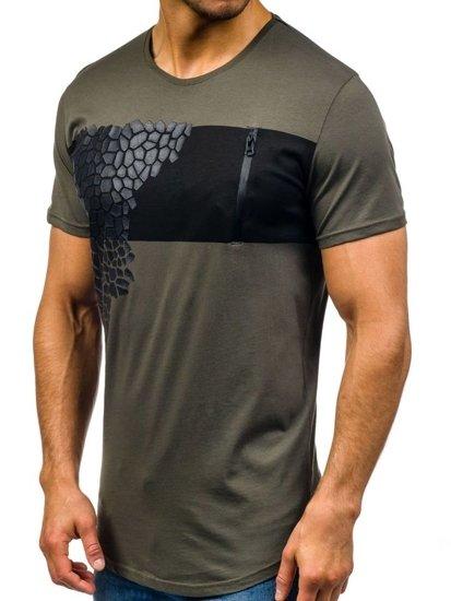 T-shirt męski z nadrukiem zielony Denley 380