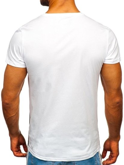 T-shirt męski z nadrukiem żółty Denley 100767