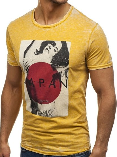T-shirt męski z nadrukiem żółty Denley 7646