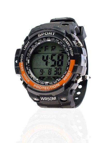 Zegarek męski na rękę czarno-pomarańczowy Denley 8352