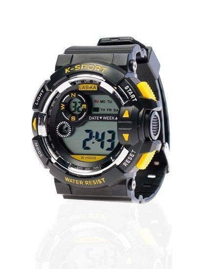 Zegarek męski na rękę czarno-żółty Denley 9006