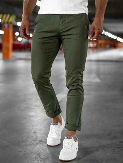 Zielone spodnie chinosy męskie Denley 1146