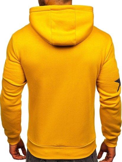 Żółta z nadrukiem bluza męska z kapturem Denley KS2140