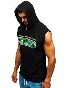 T-shirt męski z nadrukiem i kapturem czarny Bolf 2859