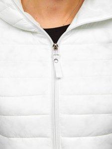 Biała pikowana kurtka damska przejściowa Denley B0101
