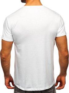 Biały T-shirt męski z nadrukiem Denley KS2360