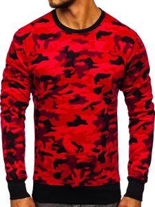 Bluza męska bez kaptura moro-czerwona Denley DD129-2