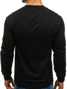 Bluza męska bez kaptura z nadrukiem czarna Denley 0385