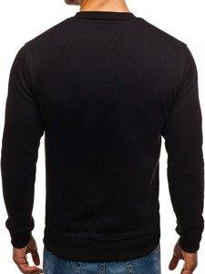Bluza męska bez kaptura z nadrukiem czarna Denley 0526