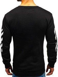 Bluza męska bez kaptura z nadrukiem czarna Denley 22012