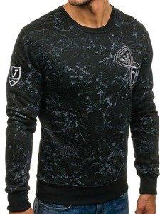 Bluza męska bez kaptura z nadrukiem czarna Denley DD115