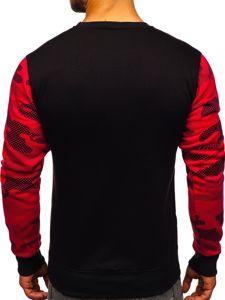 Bluza męska bez kaptura z nadrukiem czerwona Denley DD157