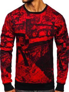 Bluza męska bez kaptura z nadrukiem czerwona Denley DD659