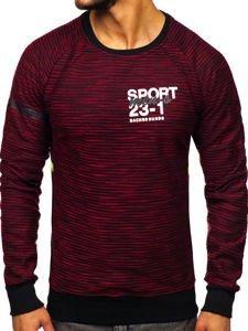Bluza męska bez kaptura z nadrukiem czerwono-seledynowa Denley DD713