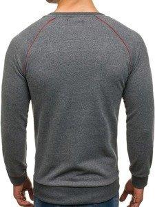 Bluza męska bez kaptura z nadrukiem grafitowa Denley 171492