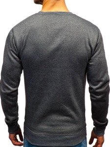 Bluza męska bez kaptura z nadrukiem grafitowa Denley DD657