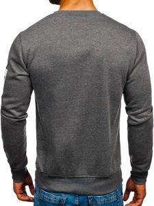 Bluza męska bez kaptura z nadrukiem grafitowa Denley J88