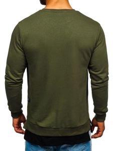 Bluza męska bez kaptura z nadrukiem khaki Bolf 11116