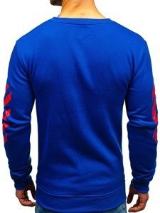 Bluza męska bez kaptura z nadrukiem niebieska Denley 22012