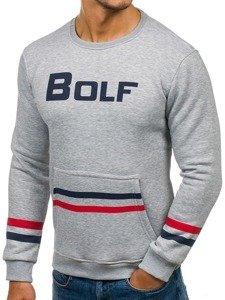 Bluza męska bez kaptura z nadrukiem szara Bolf 75