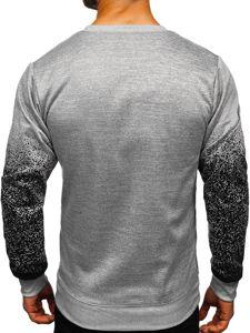 Bluza męska bez kaptura z nadrukiem szara Denley 8910