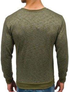 Bluza męska bez kaptura z nadrukiem zielona Denley 1693