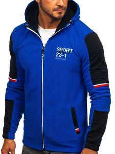 Bluza męska polar z kapturem niebieska Denley YL006