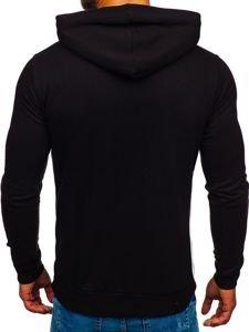 Bluza męska z kapturem czarno-biały Bolf 145367