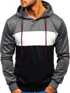 Bluza męska z kapturem grafitowo-czarna Denley 35013