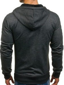 Bluza męska z kapturem rozpinana czarna Denley 2086