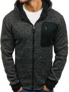 Bluza męska z kapturem rozpinana czarna Denley AK43B