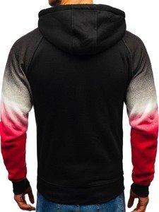 Bluza męska z kapturem rozpinana czarno-czerwona Denley DD528